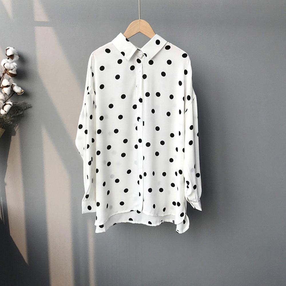 【nata】圓點雪紡長版襯衫(白)