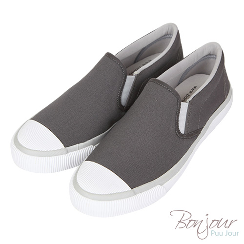 BONJOUR☆可水洗!超柔軟帆布休閒鞋Slip-On【ZB0339】深灰