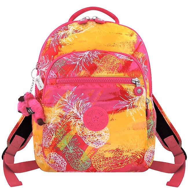 KIPLING 粉紅彩繪圖樣後背包
