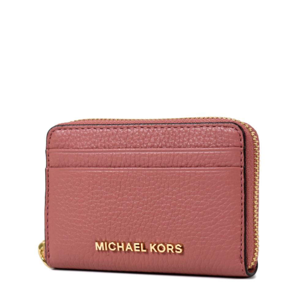 MICHAEL KORS 金字荔枝紋雙層置物拉鍊零錢包-玫瑰粉