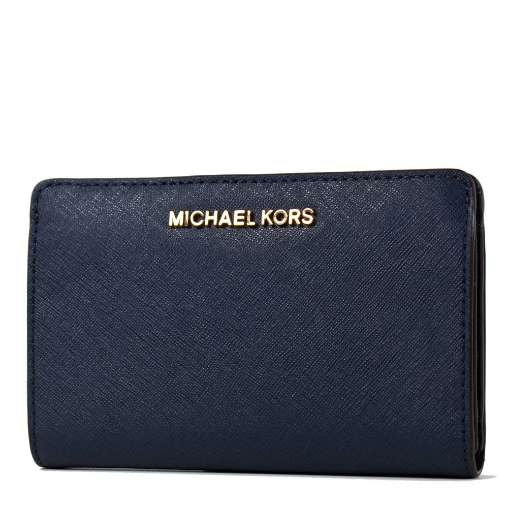 MICHAEL KORS 金字防刮皮革釦式對開中夾/手機包-海軍藍