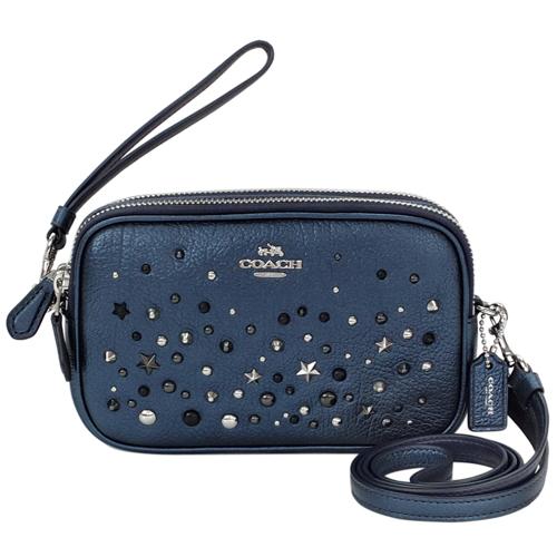 COACH星空藍全皮鉚釘繁星貼飾雙層手掛/斜背小包