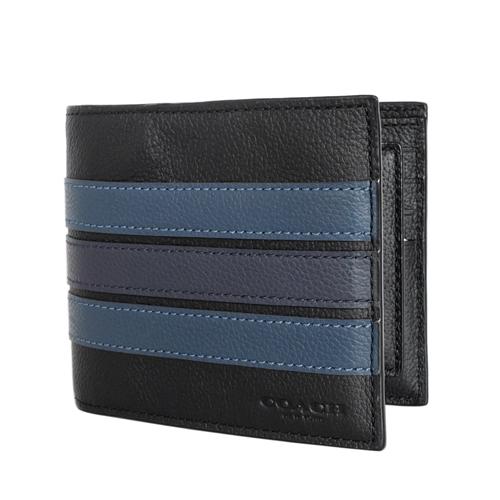 COACH黑色全皮藍灰橫條雙摺二合一男夾/短夾