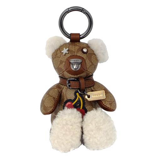 COACH卡其C Logo櫻桃毛呢立體小熊造型掛飾鑰匙圈