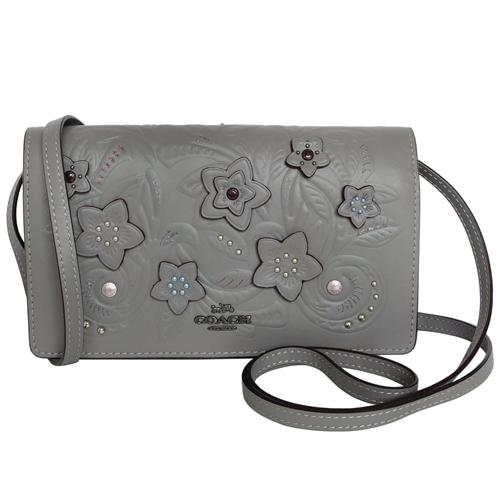 COACH灰色全皮立體雕花翻蓋WOC手抓/斜背小包