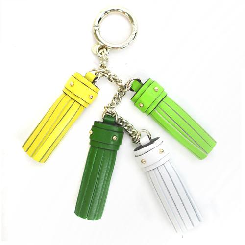 MICHAEL KORS 牛皮流蘇串吊飾鑰匙圈(綠色系)