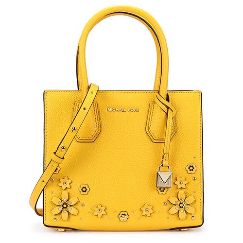 MICHAEL KORS Mercer 荔枝紋皮革花卉拼貼手提斜背二用包-黃色