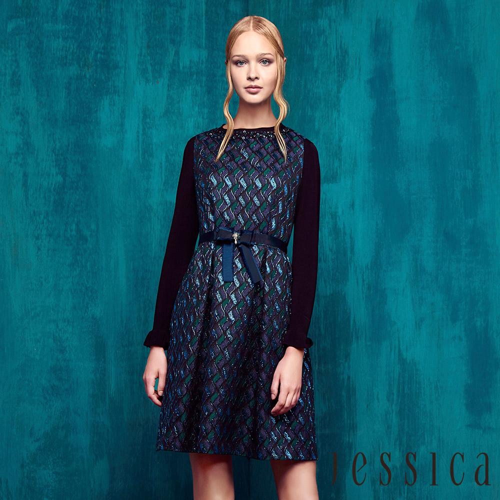 JESSICA - 華麗藍綠緹花背心洋裝