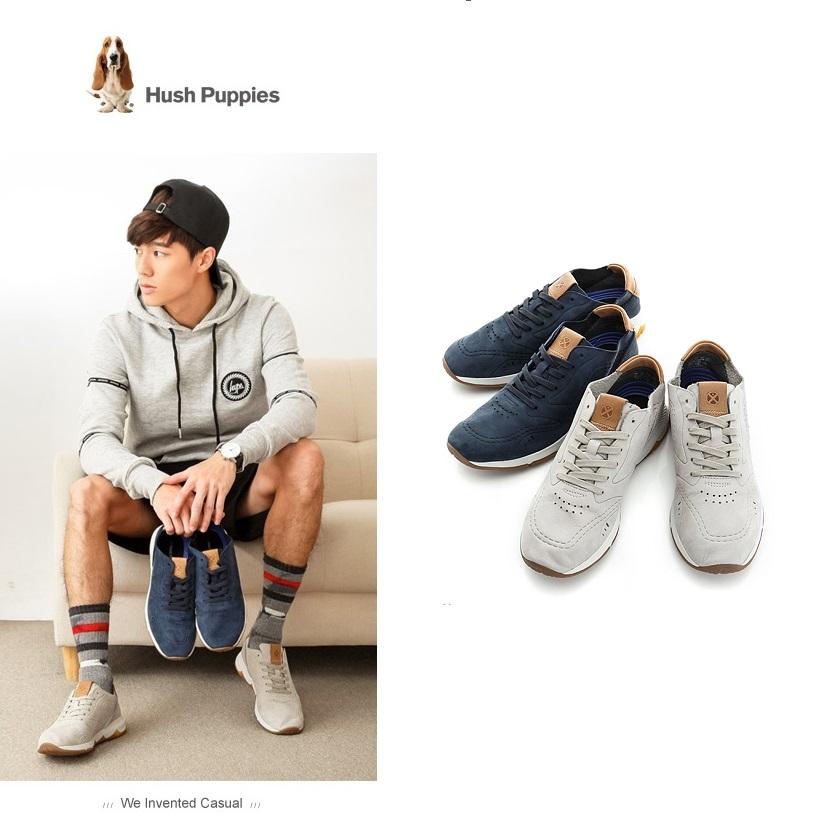 【Hush Puppies】(男款) 復古風格運動健走 男鞋-淺灰褐/深藍(2色任選)