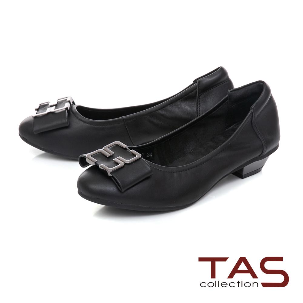 TAS蝴蝶結飾扣素面羊皮娃娃鞋–經典黑