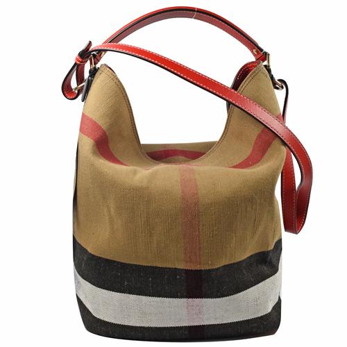 BURBERRY 經典格紋兩用水桶包.棉麻/紅邊