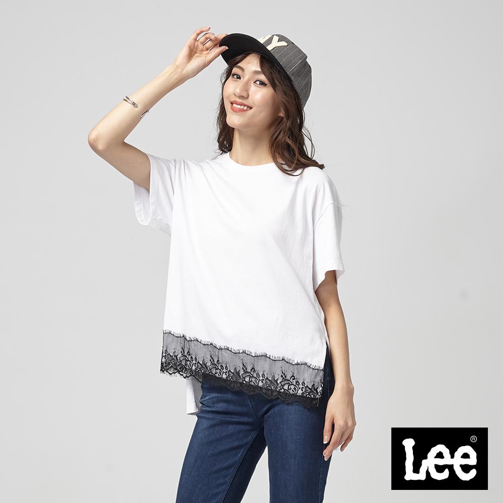 Lee 下擺蕾絲拼接短袖圓領TEE/BO-季節性版-白
