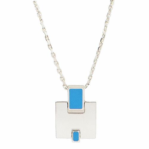 HERMES Eileen 經典H LOGO銀飾項鍊.銀/藍色