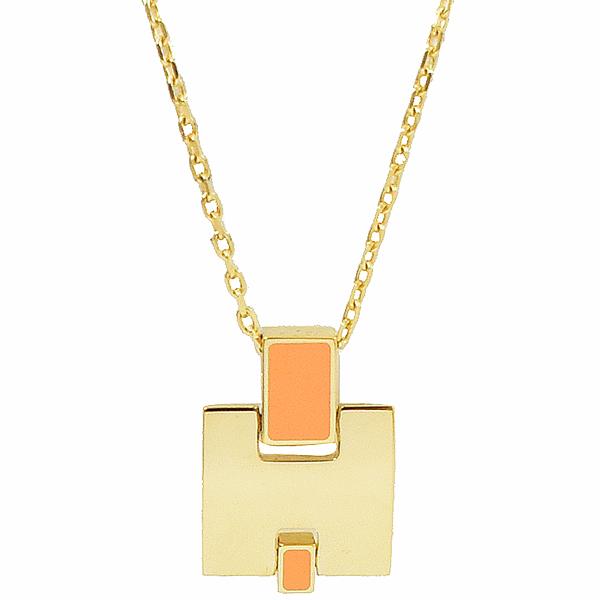 HERMES Eileen 經典H LOGO銀飾項鍊.金/橙色