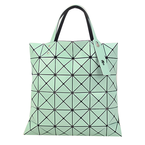 ISSEY MIYAKE 三宅一生BAOBAO 雙色亮面方格6x6手提包(綠X薄荷綠)