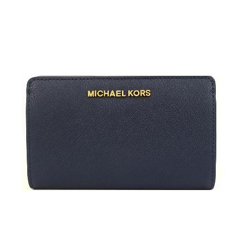 MICHAEL KORS JET SET 防刮壓扣兩折中夾(深藍)