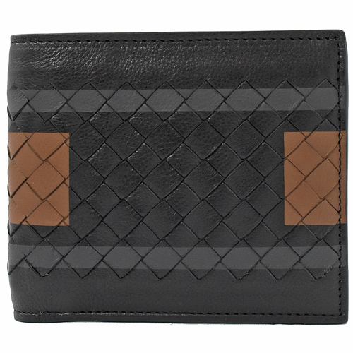BOTTEGA VENETA 編織小羊皮拼接零錢短夾.黑棕