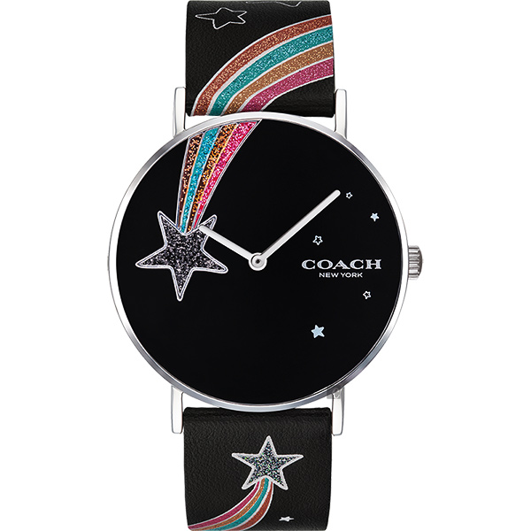 Coach Delancey 彩虹流星石英手錶-銀x黑色錶帶/36mm CO14503039