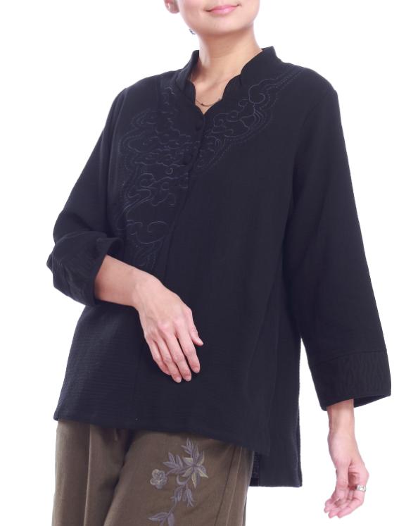 【竹露衣】噶瑪蘭雙層拼接立體織紋刺繡手繪七分袖上衣1入-黑