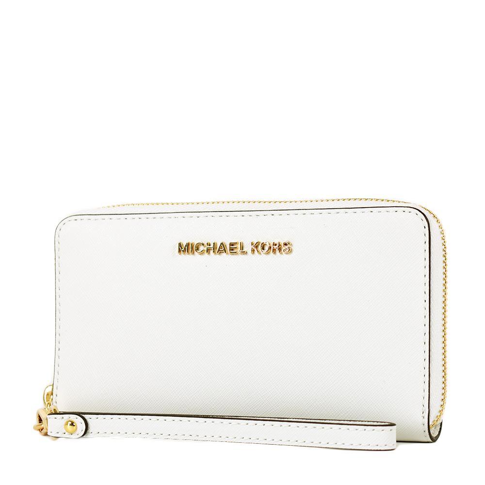 MICHAEL KORS JETSET 防刮皮革拉鍊手掛式中夾/手機包-純淨白