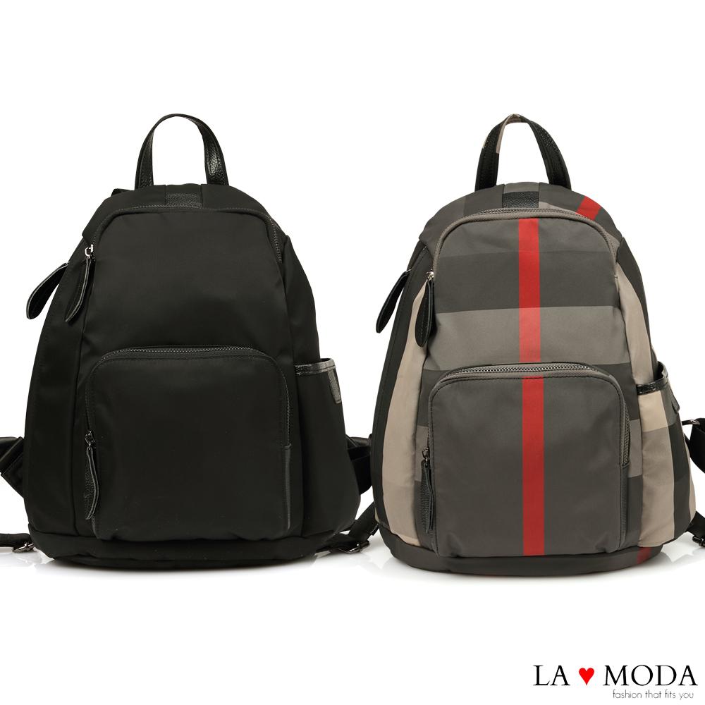 La Moda 出遊首選完全防盜後背拉鍊設計防潑水大容量後背包(共2色)