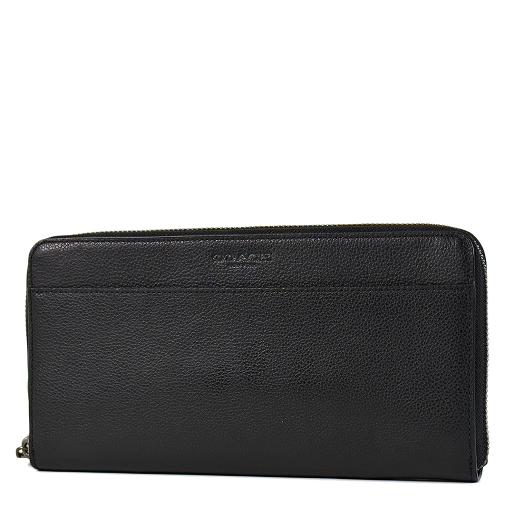 COACH 男款 荔枝紋皮革前夾層大容量拉鍊長夾/商務手拿包-黑色