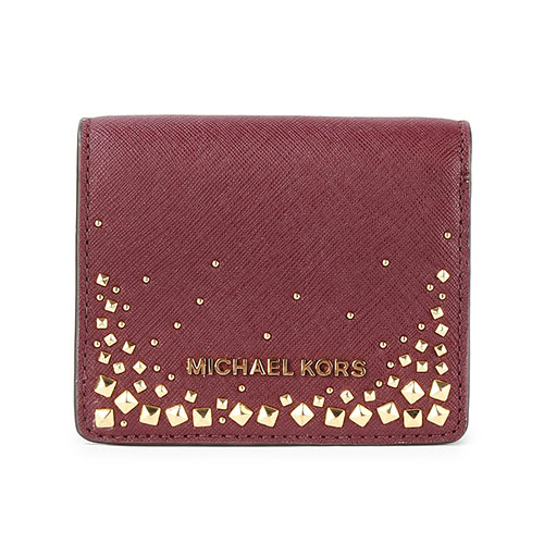 MICHAEL KORS 鉚釘綴飾防刮皮革壓釦短夾-暗紅色