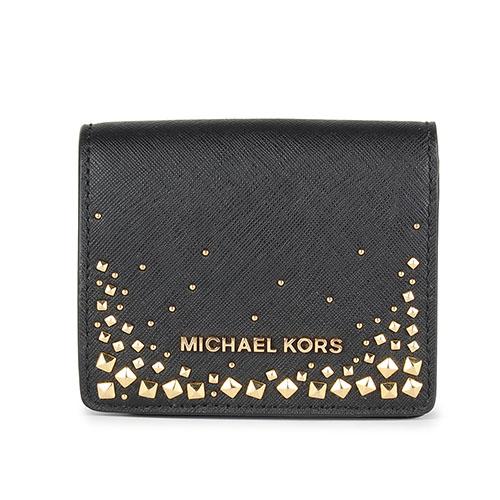 MICHAEL KORS 鉚釘綴飾防刮皮革壓釦短夾-黑色