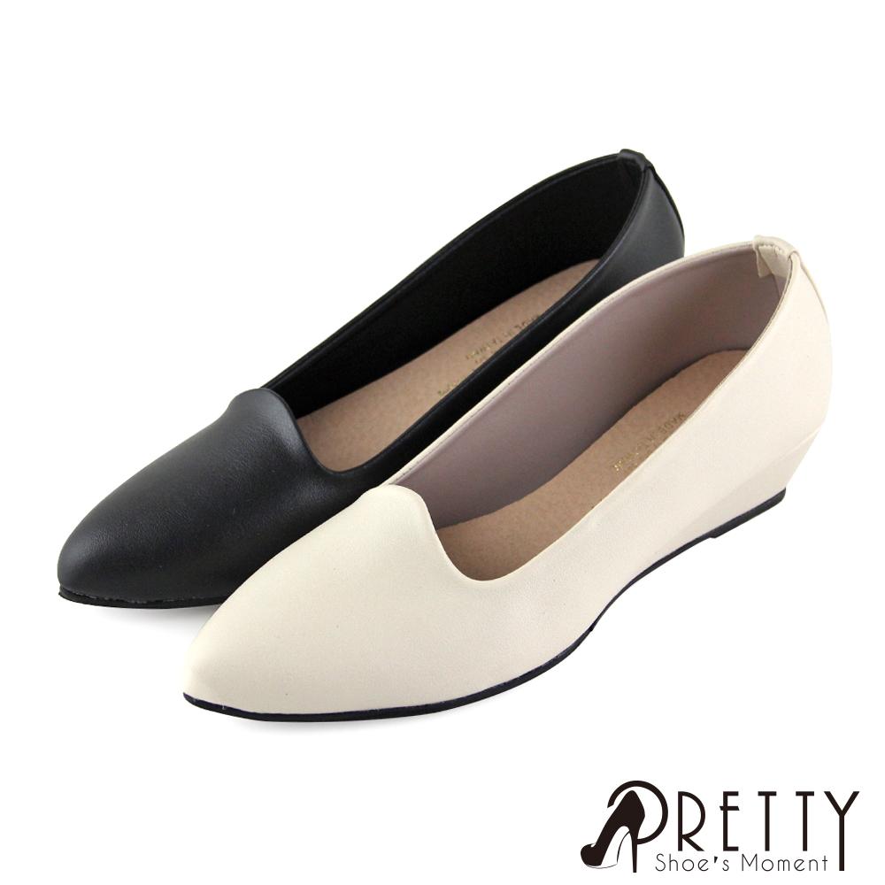 【Pretty】簡約素面尖頭小坡跟娃娃鞋