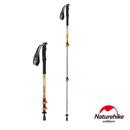 Naturehike 長手把6061鋁合金三節外鎖登山杖 附杖尖保護套 橘色