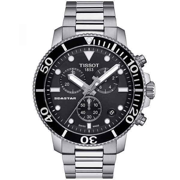 TISSOT 天梭 Seastar 1000海洋之星300米潛水三眼計時石英錶-45.5mm/黑 T1204171105100