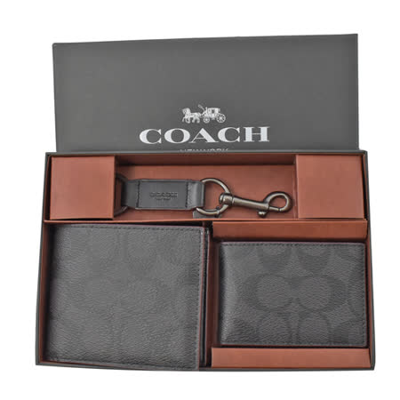 COACH  短夾名片夾鑰匙圈三件禮盒組