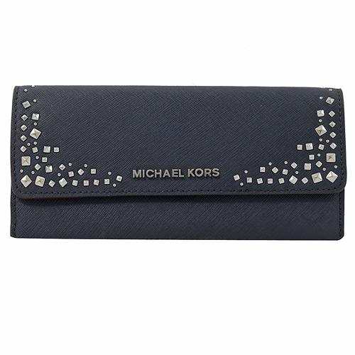 MICHAEL KORS GIFTABLES 鉚釘扣式零錢長夾.海軍藍