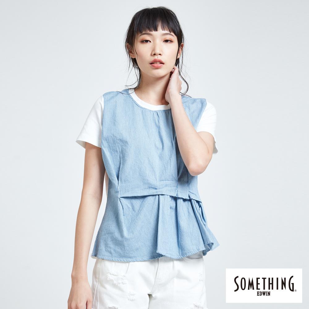 SOMETHING 靛藍思路 立體摺圓領短袖T恤-女款-藍色