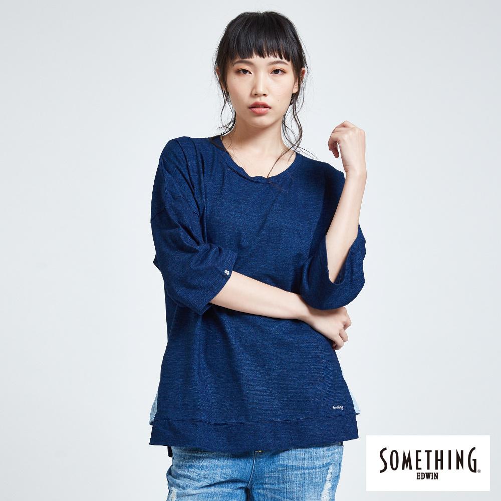 SOMETHING 靛藍思路 百搭寬鬆圓領短袖T恤-女款-中古藍