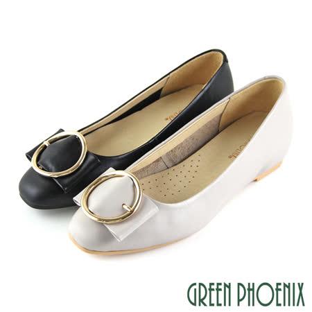 GREEN PHOENIX 全真皮平底娃娃鞋
