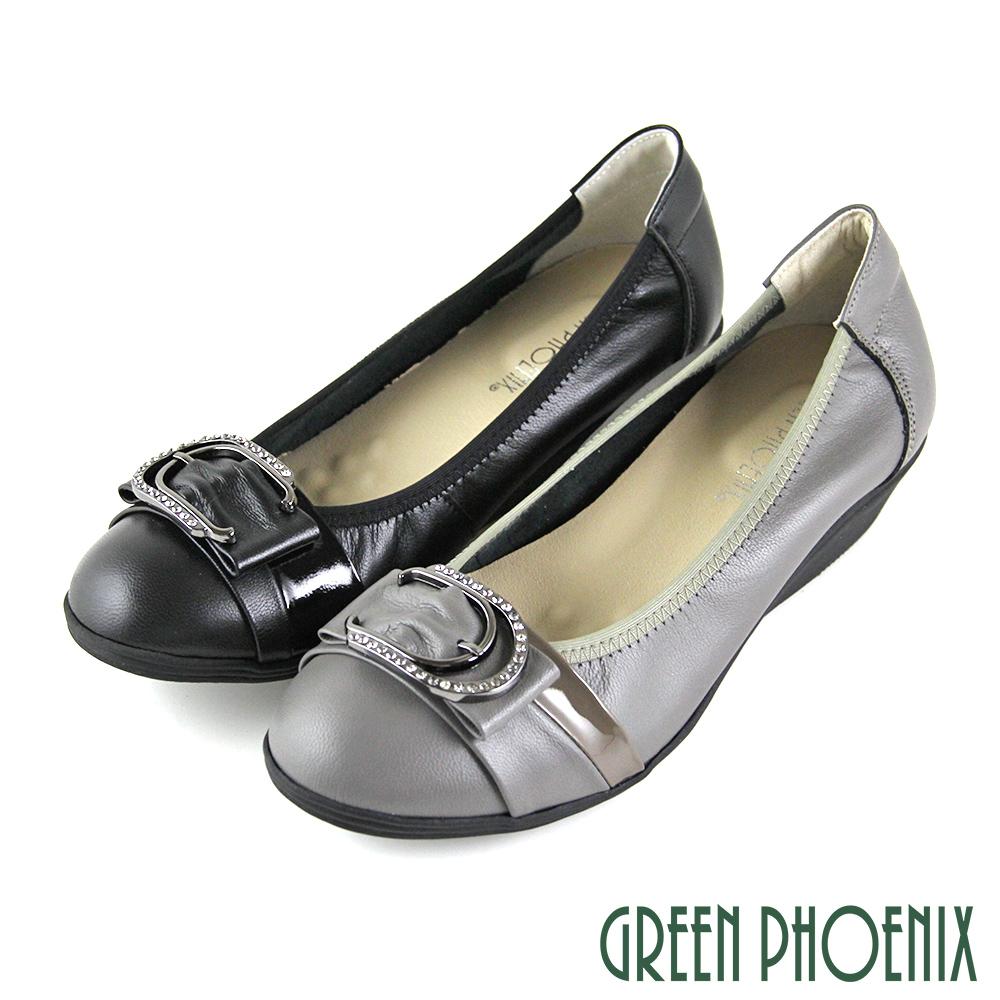 【GREEN PHOENIX】金屬裝飾釦水鑽束口全真皮小坡跟娃娃鞋