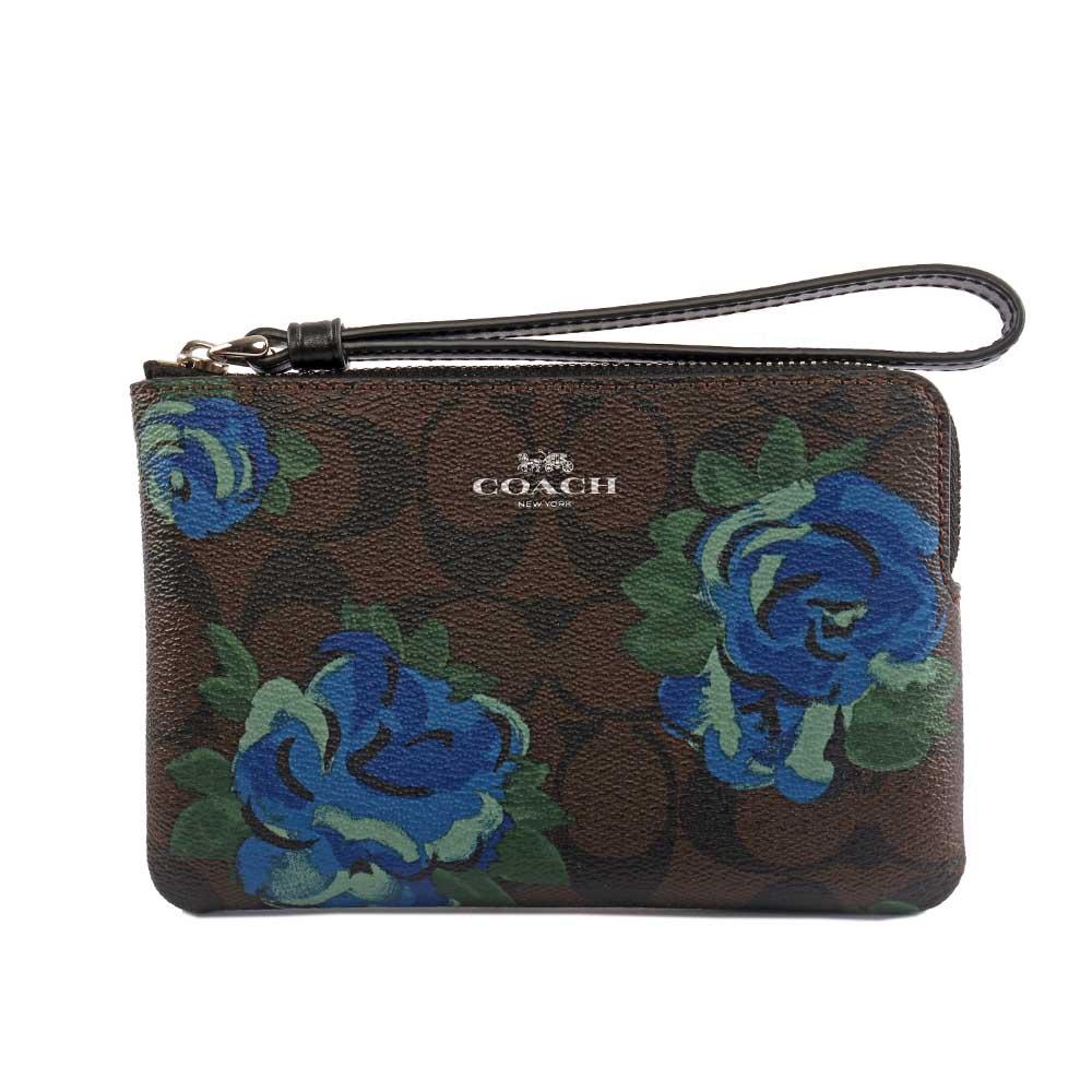 【COACH】LOGO L型花卉拉鍊手拿包(棕色) F39150 SVN2R