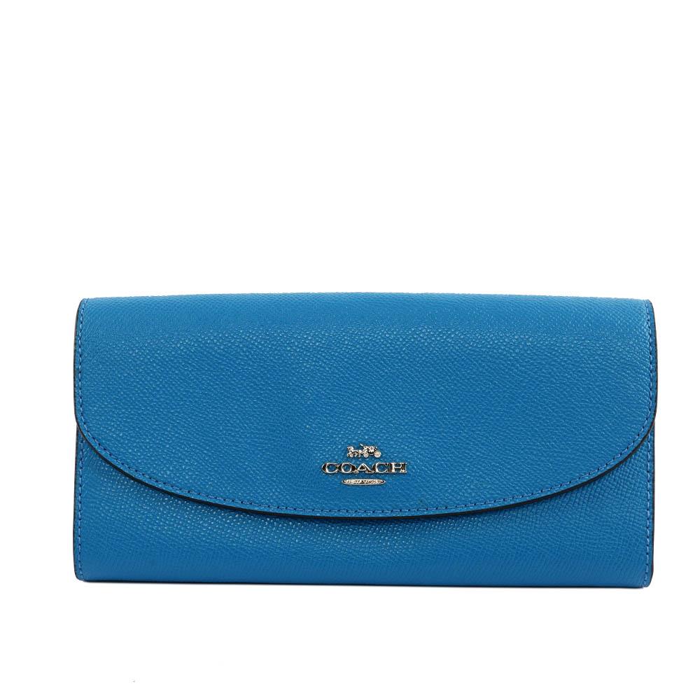 【COACH】馬車LOGO兩折長夾(厚款)(藍色) F54009 SVA09