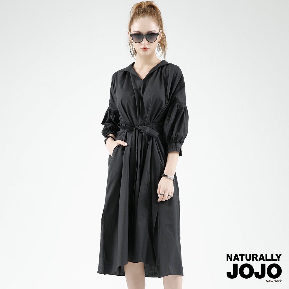 【NATURALLY JOJO】 襯衫領拋袖長洋裝 (黑)