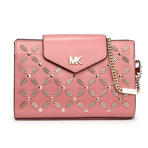 MICHAEL KORS 鉚釘裝飾皮革鍊帶中型斜背包-玫瑰粉