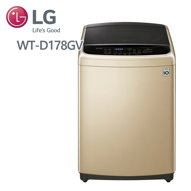 LG 樂金 6MOTION DD直立式變頻洗衣機 星燦金 / 17公斤洗衣容量 (WT-D178GV)送基本安裝+好禮3選1