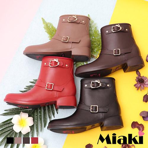 【Miaki】雨靴.Hello Kitty聯名款雙扣短靴 (卡其色 / 咖啡色 / 紅色 / 黑色)