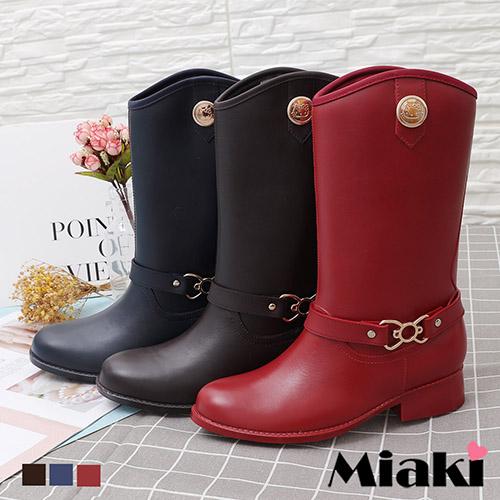 【Miaki】雨靴.Hello Kitty聯名款扣環中筒靴 (咖啡色 / 紅色 / 藍色)