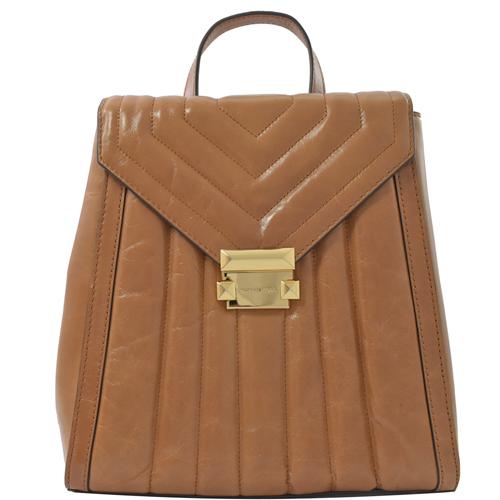 MICHAEL KORS 專櫃款 Whitney 絎縫牛皮壓扣翻蓋後背包.橡果色