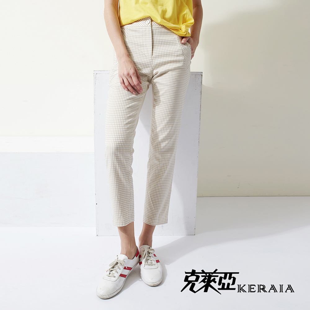 【KERAIA 克萊亞】棉質格紋緹花窄管九分褲