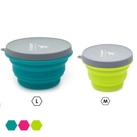 【M Square】摺疊矽膠碗M+L(2入組)-三色可選