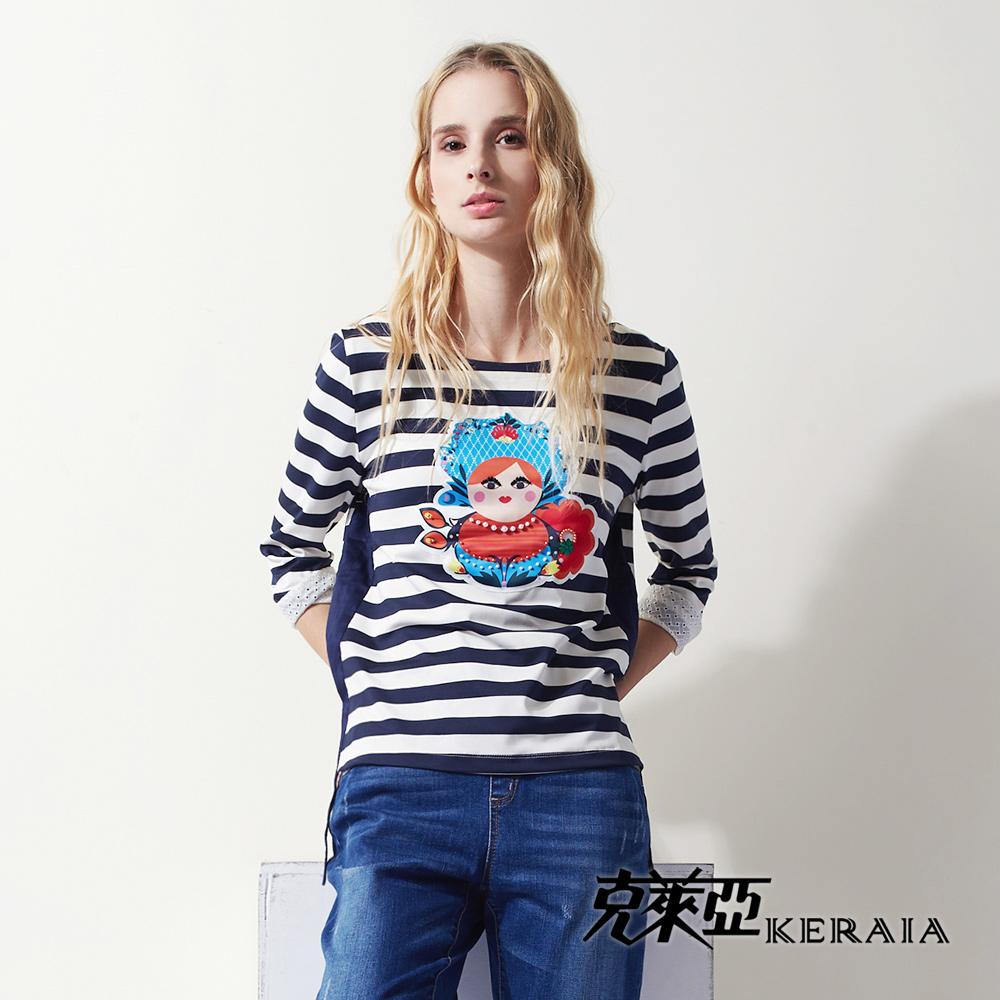 【KERAIA 克萊亞】俄羅斯娃娃條紋側開岔上衣