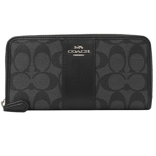 COACH 馬車LOGO 條紋PVC皮飾邊拉鍊長夾.黑灰/黑