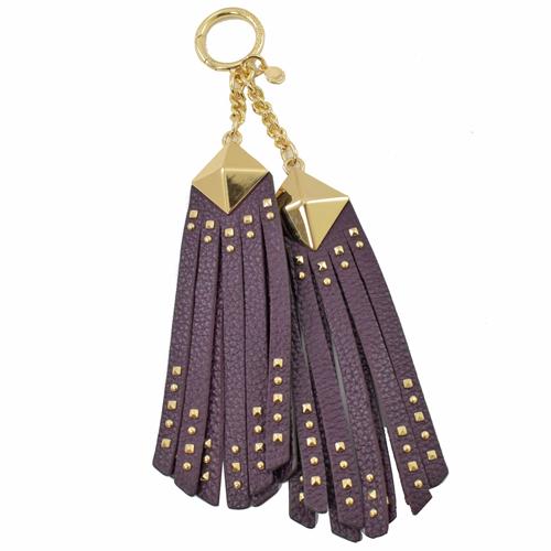 MICHAEL KORS 鉚釘流蘇牛皮鑰匙吊飾.李子紫
